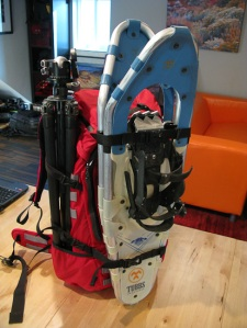 Tripod and snowshoes attached